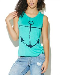 Cutest coolest muscle tank features a soft and solid knit body with a large anchor screen printed along the front, banded scoop neck, and a relaxed fit.