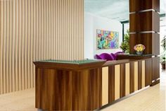 Walnut and maple modern reception desk adds punch to this hotel lobby. This station combines a bit o Modern Office Reception, Hotel, Condo Remodel, Modern, Contemporary Office Furniture, Contemporary Design, Interior Design, Modern Reception Desk, Hotel Reception Desk