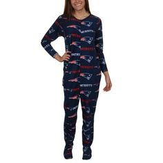 New England Patriots Ladies Highlight Union Sleeper Suit - Navy Blue   UMmmm. AWESOME!