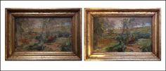 Anversos inicial y final. En esta oportunidad se intervinieron tanto la pintura de caballete como su enmarcación original 🖼