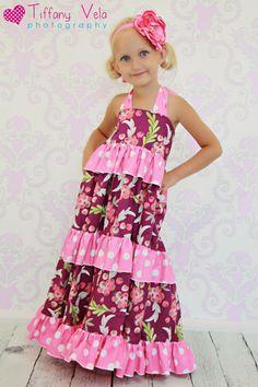 Julia's Twirly Maxi Dress PDF Pattern-dress, ruffles, maxi dress, sewing pattern, girls, toddler, infant, ruffles boutique, classy, elegant fun, twirly
