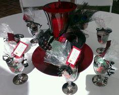 Wine theme bridal shower centerpiece favors