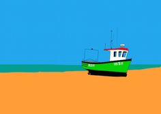 IH311 is inspired by the fishing boats based off the coast of the Suffolk seaside town of Aldeburgh.  It is available as a A4 limited edition print.