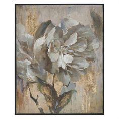 Warm, Comforting Colors Are Used In This Hand Painted Artwork On Canvas Featuring Gold Leaf Accents. Canvas Is Stretched Over Wooden Stretchers Then Encased In A Narrow Black Satin Frame. Due To The H