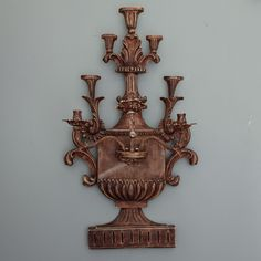 Italian Large Gilt Wood and Gesso Single Wall Sconce  --  Circa 1930s Italian three candle wall sconce in giltwood and gesso in form of an urn with branches. This single wall sconces is not currently electrified, but can be for an additional charge. --   Item:  6945  --  Price:  $2495