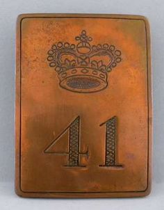 41st Regiment of Foot- brass other rank's shoulder-belt plate- 1st Battalion in the Canadas from 1799 to 1815, 2nd Battalion in Canada from May 1813. Incorporated into the 1st Battalion in 1814.