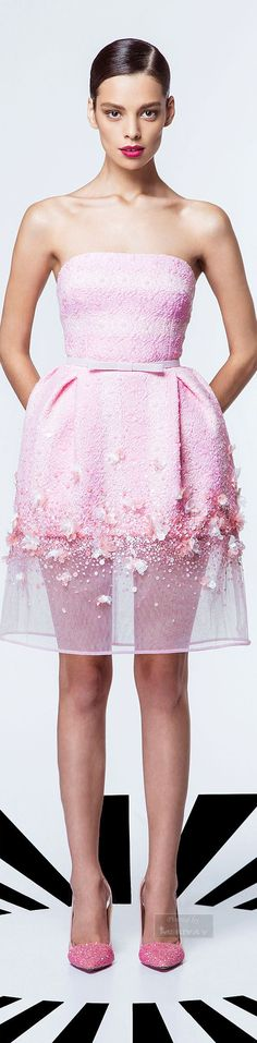 Playing with exaggerated fullness in the skirt Georges Hobeika.SS 2015.