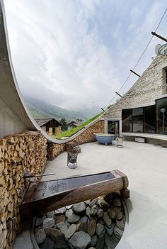 Villa Vals, hewn out of the mountain slope, by Search and Christian Muller Architects. Photo by Iwan Baan.