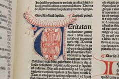 printed by Nicholas Jenson, a famous early printer and type designer. Jenson is best known for the design of his roman typefaces, which continue to influence type designs today.  This one was printed in a gothic typeface, and the copy we have here in Special Collections is beautifully rubricated.