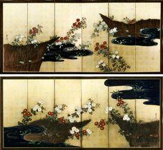 Ogata Korin. Chrysanthemums by a stream. Pair of folding screens. Japan. Edo. 菊絵流水屏風 菊絵流水屏風 尾形光琳