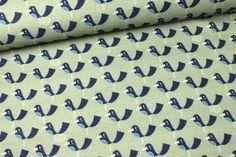 Stoff Vögel - 2. Wahl - Viskose - Vögel - Mattgrün - Nancy Kers - ein Designerstück von alles-fuer-selbermacher bei DaWanda