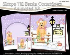**COMING SOON** Little Christmas Golden Labrador 3D Xmas Sleeps till Santa Animated Card Kit - on http://www.craftsuprint.com/carol-clarke/?r=380405