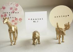 Love these place card holders = all it takes is plastic toys and gold spray paint. Fun way to display name cards Handmade Wedding, Diy Wedding, Dream Wedding, Wedding Day, Wedding Places, Wedding Place Cards, Wedding Place Card Holders, Wedding Programs, Wedding Venues