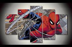 Style Your Home Today With This Amazing 5 Piece Multi Panel Modern Home Decor Framed Spiderman Marvel Comic Super Hero Wall Canvas Art For $99.98  Discover more canvas selection here http://www.octotreasures.com  If you want to create a customized canvas by printing your own pictures or photos, please contact us.