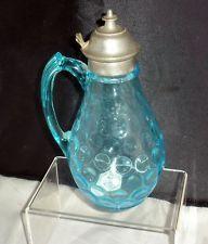 *SYRUP JUG ~ Unusual hard to find Antique Victorian Syrup Jug Blue c1880s