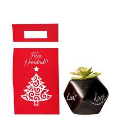 Una hermosa planta es un regalo ideal para cualquier ocasión. Esta vez tenemos un empaque tipo sobre con la decoración tadicional navideña, color rojo y un árbol de navidad. Encuéntralo en la tienda de regalos de La Confitería. Despachos a nivel nacional en Colombia Green Christmas, Drink Sleeves, Tableware, Business Gifts, Gift Shops, Red, Colombia, Sweetie Belle, Dinnerware
