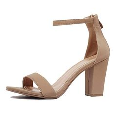 d527f5aab71 DREAM PAIRS Women s HHER Nude Pu Low Heel Pump Sandals - 8.5 M US ...