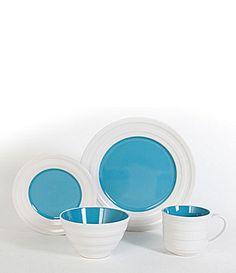 Gibson Color Rings Aqua Dinnerware