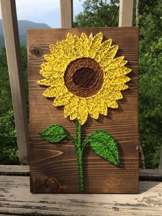 Bright sunflower string art (flower, nail, thread) - Order from KiwiStrings on Etsy! (www.KiwiStrings.etsy.com)