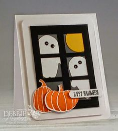 Fun Fall Framelits Dies, Stampin' Up! created by Debbie Henderson, Debbie's Designs. Fall Cards, Holiday Cards, Christmas Cards, Valentine Cards, Scrapbooking, Scrapbook Cards, Holidays Halloween, Diy Halloween Cards, Halloween Window