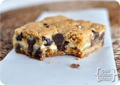 Cheesecake Stuffed Chocolate Chip Bars - worth the effort! Maybe try with brownies?!