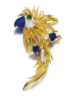 LAPIS LAZULI, EMERALD AND DIAMOND BROOCH, KUTCHINSKY, 1970S