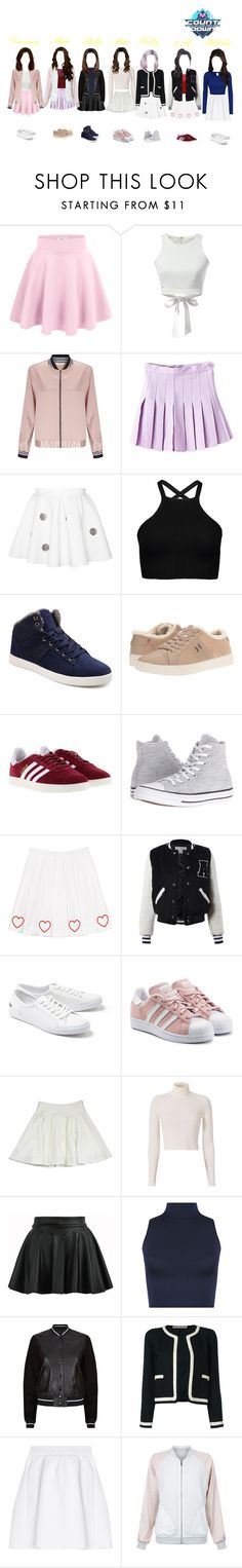"""EUPHORIA on McountDown"" by heartentertainment ❤ liked on Polyvore featuring WithChic, Miss Selfridge, Tommy Hilfiger, adidas, Converse, Sans Souci, Lacoste, adidas Originals, Milly and A.L.C."