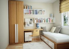 catchy small bedroom interior ideas showing wooden cupboard and wooden platform bed and simply wooden study desk also white bookshelfts and drawer and rug
