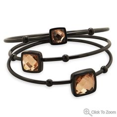 Three Row Black Tone Stainless Steel Bangle with Champagne Faceted Glass W2605 | I Love Bracelets