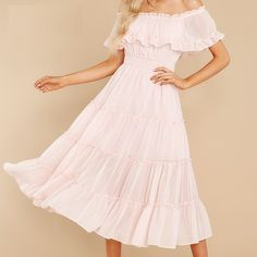 Color: Pink Style: Office Lady Material: Polyester Pattern Type: Solid The post off shoulde ruffle pleated short sleeve A-line casual midi dress appeared first on Power Day Sale. Fashion Colours, Pink Fashion, Vintage Fashion, Maxi Outfits, Maxi Dresses, Pleated Shorts, Pink Style, Office Ladies, Types Of Sleeves