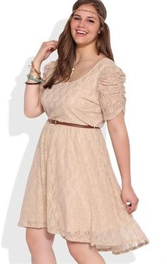 Deb Shops Plus Size Lace High Low Dress with Ruched Sleeves and Belted Waist $45.00