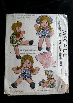 1946 stuffed doll pattern 11 in tall mccall 1304 with for 5 inch baby dolls for crafts