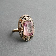 Art Deco Amethyst Ring. Carved Floral Stone. Marcasite.