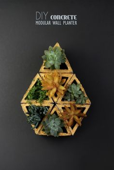 diy modular geometric concrete planter | A Piece of Rainbow on Remodelaholic.com
