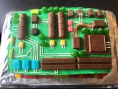 A motherboard cake! A motherboard cake! Birthday Cake For Him, Birthday Desserts, Birthday Decorations, Boy Birthday, Birthday Parties, 50th Party, Cupcakes, Funny Grooms Cake, Funny Cake