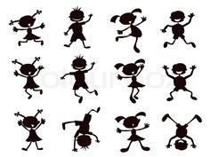 Vector of 'black cartoon kids silhouette'
