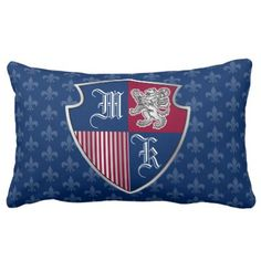 Monogram Emblem Shield Silver Lion Coat of Arms Lumbar Pillow - create your own gifts personalize cyo custom