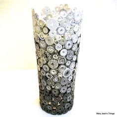 Black Gray and White Ombre Rolled Paper Vase Sculpture Upcycled from Magazines, Catalogs, etc.