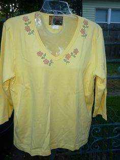 Hand Decorated 3/4 Sleeve VNeck TShirt by donnawynschenk on Etsy, $24.00