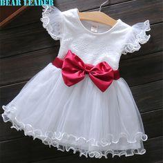 Bear leader gaya bayi perempuan dress 2016 baru musim panas kasual putri Anak-anak Pakaian Busur Desain Bunga untuk Bayi Perempuan dress