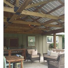 Covered farmhouse porch - love the metal room and the exposed beams eclecticallyvintage.com