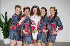 Robes by silkandmore - Gray Large Fuchsia Floral Blossoms Robes for bridesmaids | Getting Ready Bridal Robes, $25 (http://robesbysilkandmore.com/gray-large-fuchsia-floral-blossoms-robes-for-bridesmaids-getting-ready-bridal-robes/)