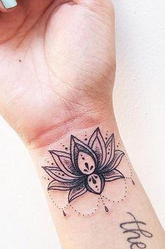 93fc3f1aa Beautiful Lotus Tattoo On A Wrist #wristtattoo #blacktattoo ☆A colorful  simple and minimalist
