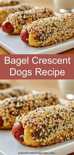 Not only is this Bagel Crescent Dogs Recipe one of the best hot dogs for summer parties, they are super easy and fun to make. Hot Dog Recipes, Great Recipes, Favorite Recipes, Burger Recipes, Fall Recipes, Healthy Recipes, Bagel Recipe, Biscuit Recipe, Crescent Dogs