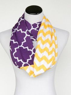 Purple and yellow gold chevron infinity scarf LSU color block soft jersey knit loop scarf circle scarf - gift for women and girls