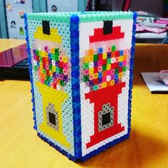 Gumball machine pencil holder perler beads by sayopitto