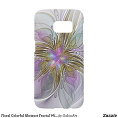Floral Colorful Abstract Fractal With Pink & Gold Samsung Galaxy S7 Case