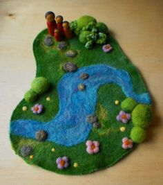 Waldorf Playmat -Flower Fairy Garden Wool Playmat/Playscape -Natural Toy via Etsy