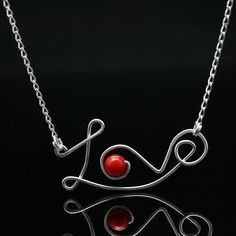 Valentines Sterling silver Red coral love pendant necklace handmade anni designs