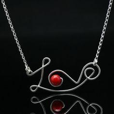 Argent sterling rouge corail amour pendentif collier Saint Valentin cadeau authentique fait à la main nous livraison gratuite conçoit